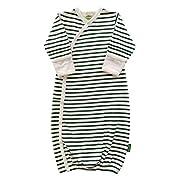 Parade Organics Kimono Gowns - Signature Prints Hunter Green Breton Stripes 0-3 Months