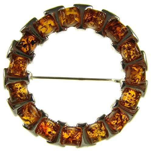 - BALTIC AMBER AND STERLING SILVER 925 DESIGNER COGNAC BROOCH PIN JEWELLERY JEWELRY