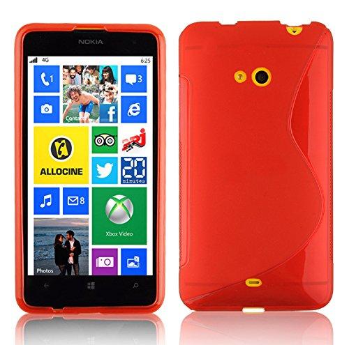 Cadorabo - Nokia Lumia 625 Cubierta protectora de silicona TPU en diseño S-Line - Case Cover Funda Carcasa Protección en ÓXIDO-NEGRO ROJO-INFIERNO