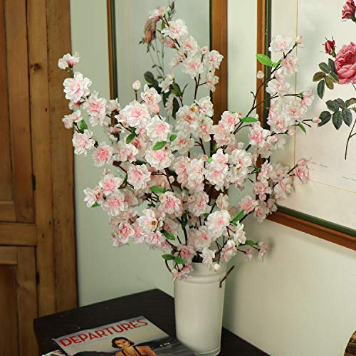 Larksilk 36'' Tall Pink Artificial Cherry Blossom Branches - Pink Silk Flowers for Floral Arrangements Home Decor(3 - Decor Arrangement Floral