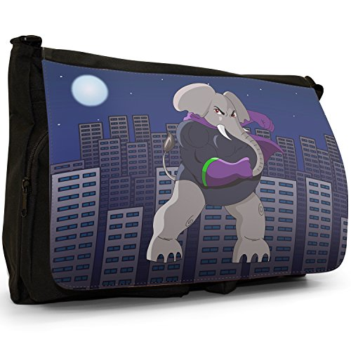 Elephant Hero School Laptop Enormous Bag Large Canvas Animals Superhero Action Messenger Shoulder Black Mighty CFOT6T