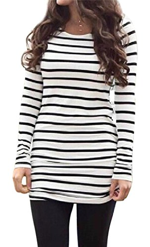 - Myobe Black and White Striped Shirt for Women Casual Basic Long Sleeve T Shirt Tunic Tops