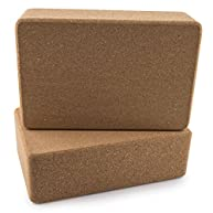 Peace Yoga® Set of 2 Cork Wood Yoga Blocks - Choose Your Size