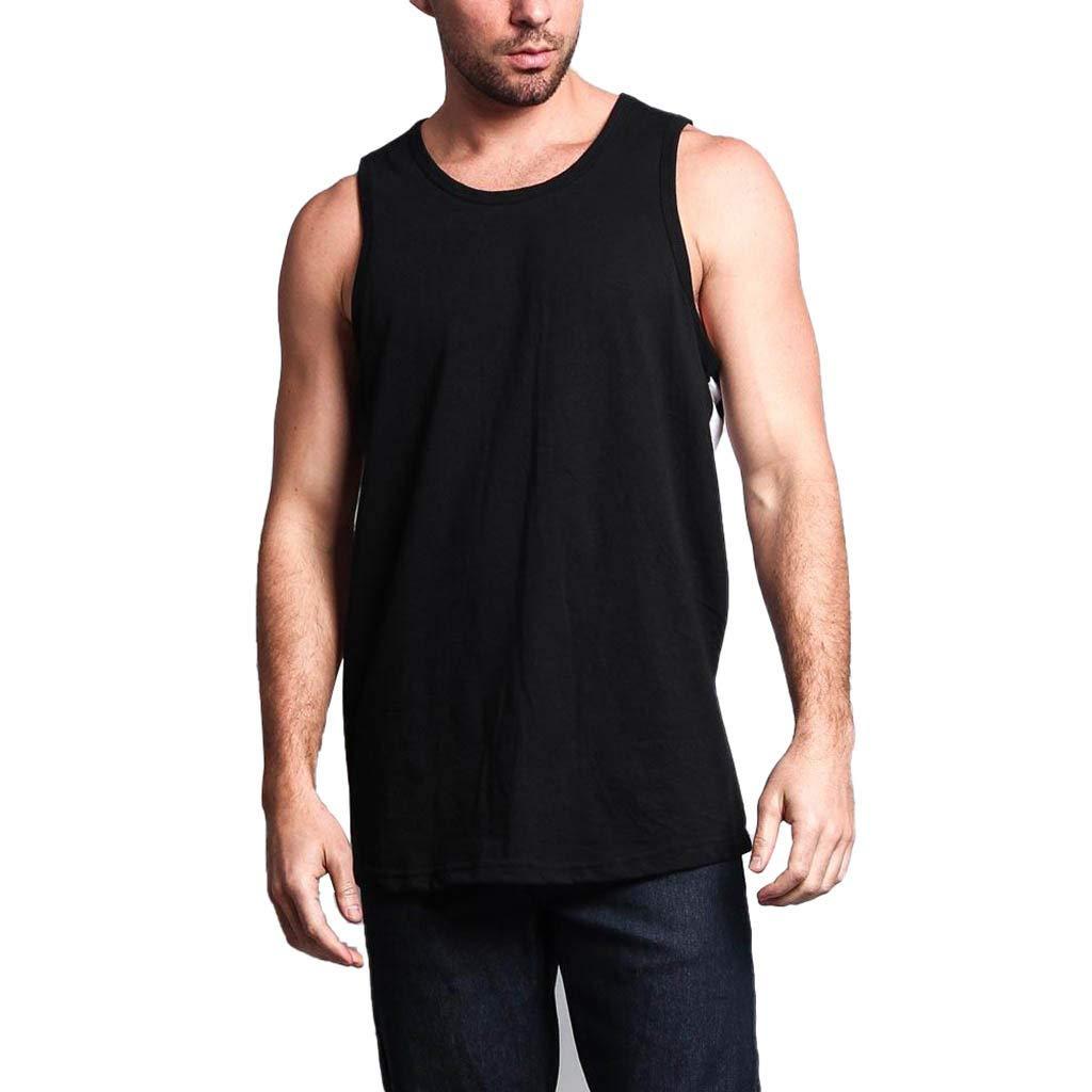 Giulot Men Big & Tall Sleeveless Tank Tops Classic Basic Solid Comfortable Vest for Sports Shrink-Less Lightweight Shirt Black