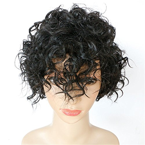 Et Costume Mom (DAYISS Women's Short Curly Wavy Full Wig Cosplay Heat Resistant Side Bangs Costume Mom's Daily Hair)