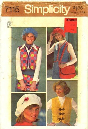 Simplicity 7115 Sewing Pattern Misses Vest Beret Bag Size 8 - 10