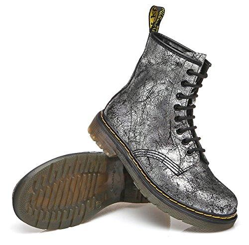 494f8444e0c3 ... uBeauty Damen Stiefel Flache Boots Klassischer Stiefeletten Schnüren  Freizeitschuhe Grau