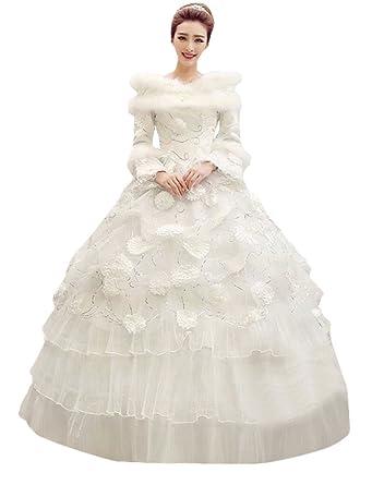 546094d1be119 ウェディングドレス 長袖 ファー 冬 厚手 ブライダル 結婚式 花嫁 大きいサイズ プリンセス ロングドレス エレガント
