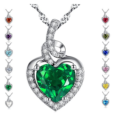 Emerald heart necklace amazon mabella simulated birthstone heart necklace sterling silver pendant birthday gifts for women aloadofball Images