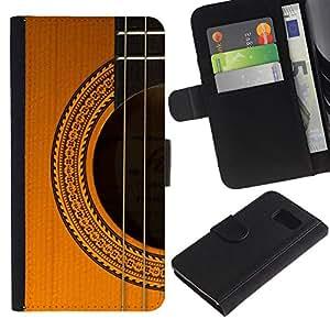 Billetera de Cuero Caso Titular de la tarjeta Carcasa Funda para Samsung Galaxy S6 SM-G920 / guitar music instrument golden brown / STRONG
