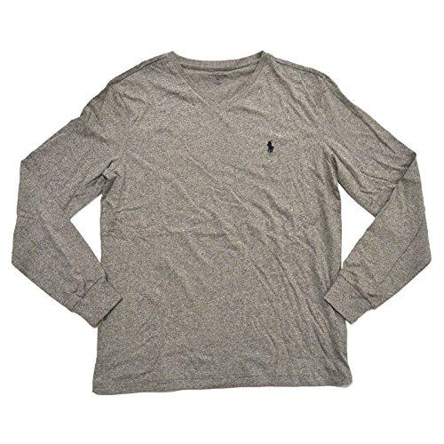 Polo Ralph Lauren V-neck T-shirt Mens Long Sleeve Classic Fit (L, Dark - Polo Customer Lauren Ralph Service