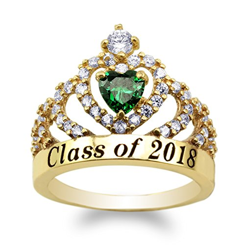 JamesJenny Yellow Gold Plated School Class of 2018 Graduation Heart Emerald Green CZ Ring Size - Ring Emerald Class