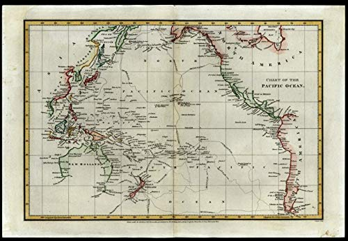 Chart of Pacific Ocean 1808 incomplete New Holland navigator tracks Capt. Cook