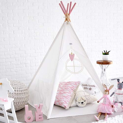 Hippococo Teepee Tent for Kids: Large Sturdy Quality 5 Poles Play House Foldable Indoor Outdoor Tipi Tents, True White…