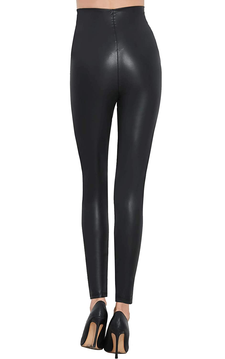 29cfbf43430 Pelisy Womens Sexy Faux Leather Pants Black Skinny High Waisted Leggings at  Amazon Women s Clothing store