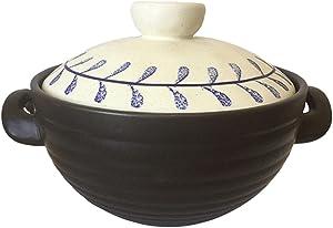 Earthenware Clay Pot Casserole Stew Pot Soup Making Household Casserole Large Capacity High Temperature Resistant Laurel Leaf Rough Pottery Retro-3.5L