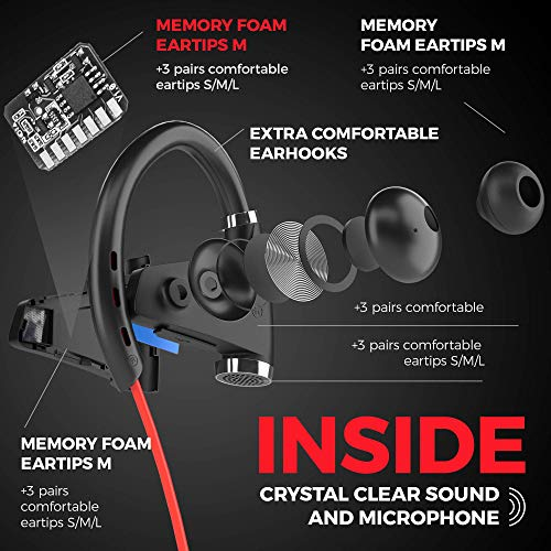Sport Bluetooth Headphones w/12+ Hours Battery