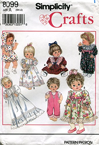 Simplicity Crafts Pattern 8099 ~Wardrobe for Baby Dolls in Three Sizes: Small (12-14 Inch), Medium (16-18 Inch), Large (20-22 Inch)