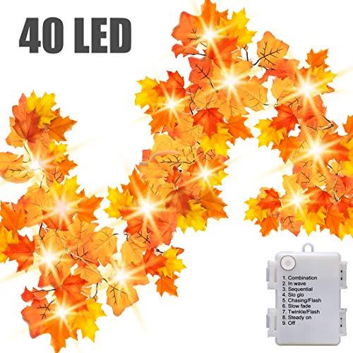 Luditek 14.7ft Thanksgiving Decorations Autumn Garland - Thanksgiving Decor Fall Garland Lights with 40 LED - 8 Blinking Modes -Waterproof-Friendsgiving Decorations (Lights Leaf Fall)