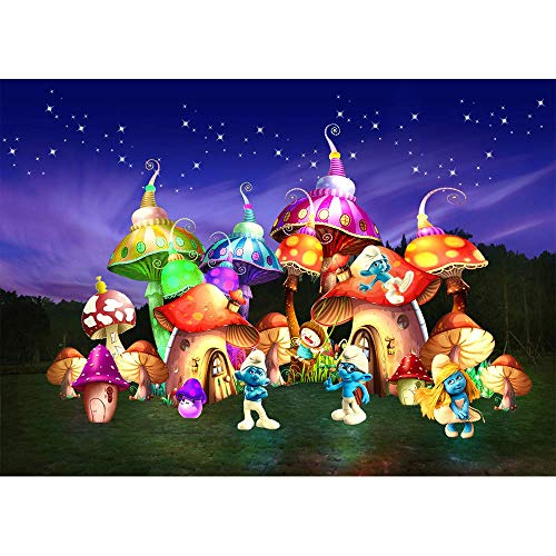 Photography Backgrounds Newborn 7x5 Glitter Starry Night Magical Mushroom House Cute Smurfs Photo Background Desktop Happy Birthday Backdrops for Children Photos -
