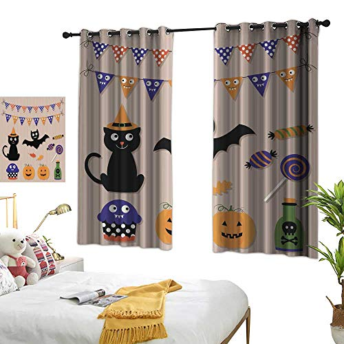 wwwhsl Diversified Curtains Halloween Vector Set Summer Blackout Curtain Polyester Bedroom Living Room W62.9 xL72]()