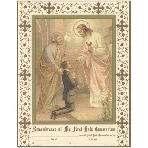 Daughters of Mary Press First Holy Communion Certificates for Boys