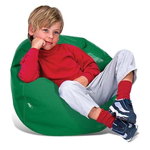 AMA shop Chair Bean Bag Round Wetlook Vinyl Junior Pure for Teen, Child,Family Room, Bedroom, Living Room (Green)