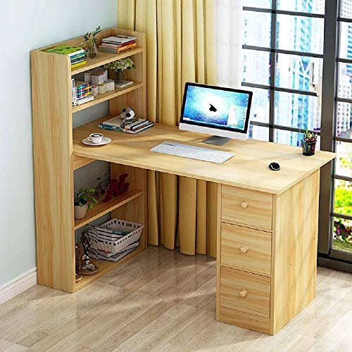Hicy L-Shaped Desk with Cabinet Storage, Office Writing Desk with Bookcase,Computer Table (Natural)