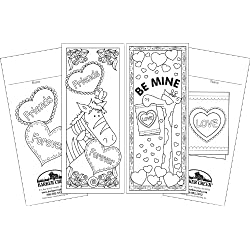 Valentine's Day Bookmark Set to color for kids