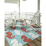 D&H 2'x3' Aqua Blue Red Horizontal Seahorse Sealife Printed Runner Rug, Indoor Outdoor Sea Animal Pattern Living Room Rectangle Carpet, Graphic Art Themed, Soft Synthetic Vibrant Fancy Textures