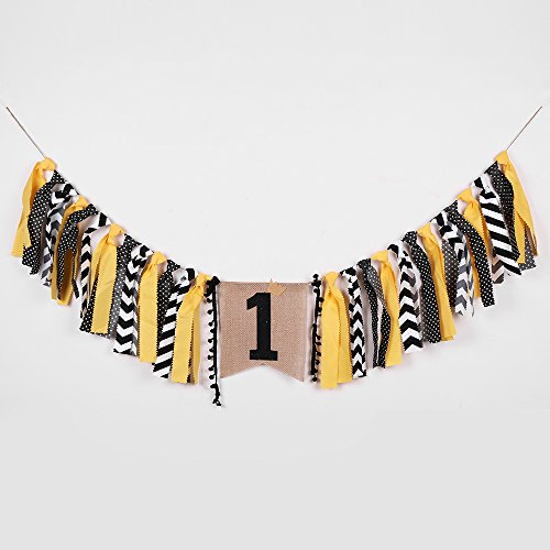PALASASA Crown boy black and yellow One Banner -Handmade First Birthday Decorations Burlap Highchair Banner for 1st Birthday Baby Boy
