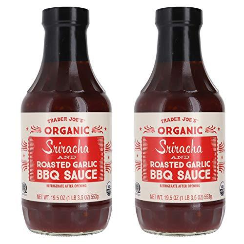 Trader Joe's Organic Sriracha and Roasted Garlic BBQ Sauce Bundle (2 - Sauce Roasted