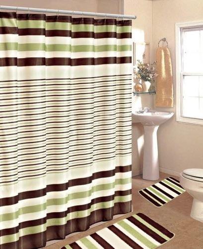 Gorgeous HomeDIFFERENT COLORS 15PC STRIPES DESIGN BATHROOM BATH MATS SET RUG  NON SLIP CARPET SHOWER CURTAIN HOOKS (#2 SAGE GREEN STRIPE)