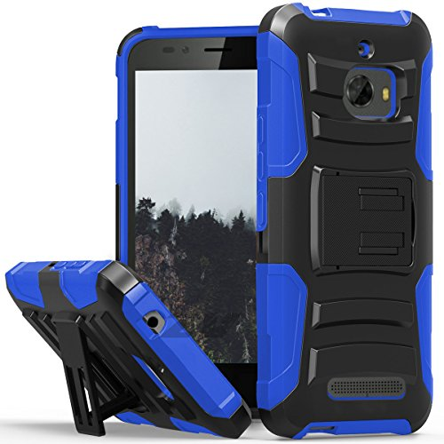 Faceplate Clip Belt Blue (Coolpad Defiant case, Luckiefind Dual Layer Hybrid Side Kickstand Cover Case With Holster Clip, Stylus Pen & Tempered Glass Screen Protector (Holster Blue))