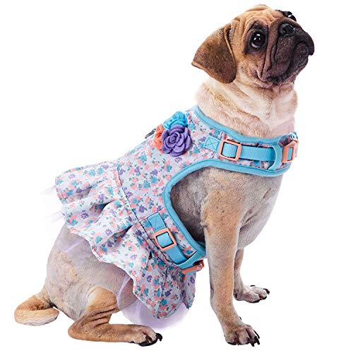 Blueberry Pet 5 Patterns Soft & Comfy Spring Made Well Lovely Floral No Pull Mesh Dog Costume Harness Dress in Lavender, Chest Girth 19
