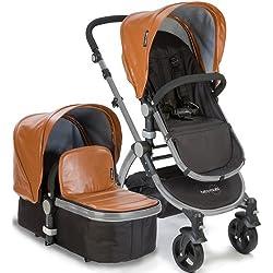 Baby Roues LeTour Lux II CAMEL Lightweightt Compact Stroller w/ Bassinet