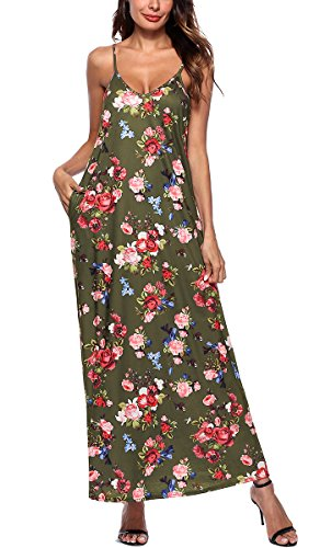 NICIAS Women Summer Floral Printed V Neck Sleeveless Vintage Casual Strap Beach Long Dress with Pockets