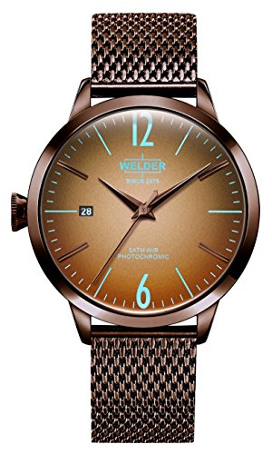 Welder Moody Stainless Steel Brown Mesh 3 Hand Watch with Date 38mm