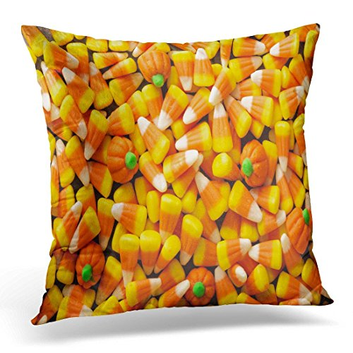 SPXUBZ Colorful Autumn Candy Corn and Pumpkin Halloween Overhead Shot Orange Border Brightcolor Decorative Home Decor Square Indoor/Outdoor Pillowcase Size: 16x16 Inch(Two Sides) -