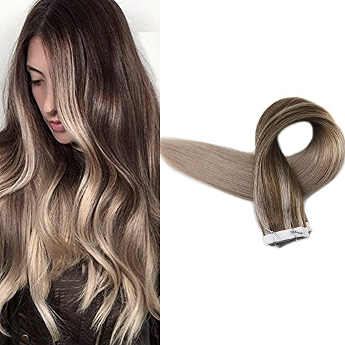 Full Shine 24 inch Tape in Real Human Hair Extensions Color