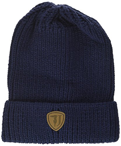 Trussardi Jeans Knitted Label Ecoleather, Gorro de Punto para Hombre Blu (Blu Navy)