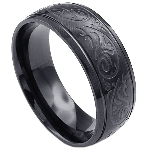 KONOV Mens Stainless Steel Ring, Engraved Florentine Design Charm 8mm Band, Black, Size 13