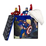 Everything Mary Captain America Collapsible Storage Bin with Lid by Marvel - Cube Organizer for Closet, Kids Bedroom Box, Playroom Chest - Foldable Home Decor Basket Container with Strong Handles