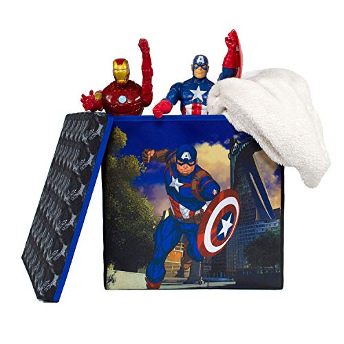 Everything Mary Captain America Collapsible Storage Bin with Lid by Marvel - Cube Organizer for Closet, Kids Bedroom Box, Playroom Chest - Foldable Home Decor Basket Container with Strong Handles -