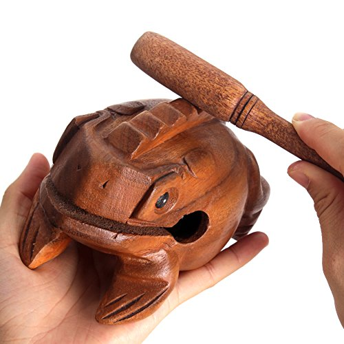 (Z Zicome 5 Inch Wooden Handcraft Frog Animal Guiro Rasp Croaking Sound Toy Musical Instrument)