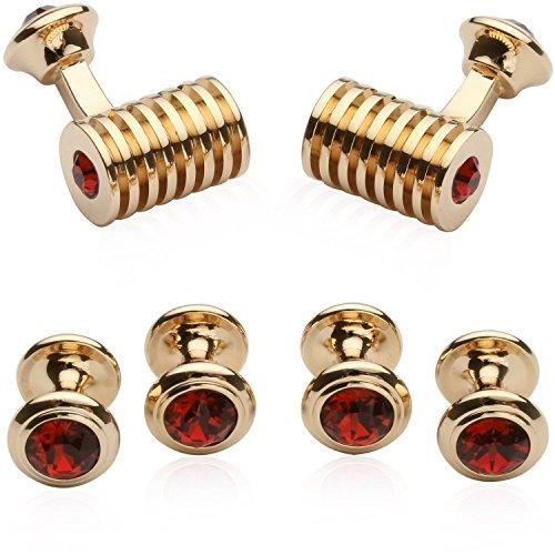 (Cuff-Daddy Rose-Gold-Tone Ruby Red Swarovski Barrel Crystal Cufflinks and Studs Formal Set with Presentation Box)