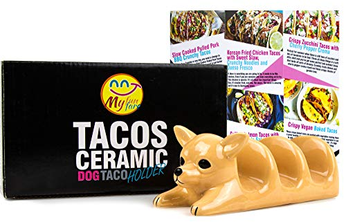 Decorative Ceramic Dog Taco Holder: Adorable Chihuahua Taco Holder Tray for Kids & Adults|Cute, Funny Taco Serving Tray for 3 Tacos Or Corn Tortillas|Dishwasher Safe|Top Gifting Idea Taco Party Tray
