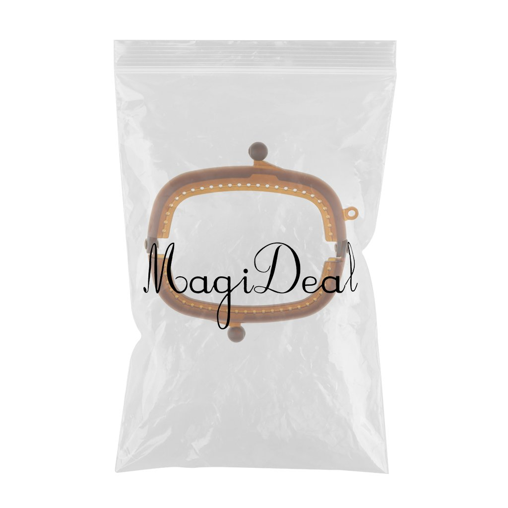 MagiDeal Plastic Color Candy Bag Coin Purse Arch Frame Kiss Clasp Lock with Hole for Patchwork DIY Handbag Clutches Beige 8.5 cm