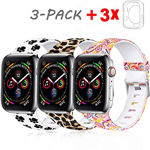 Laffav Compatible with Apple Watch Band 40mm for Women Men with Case, Leopard, Paw Print, Paisley, 3 Pack, M/L
