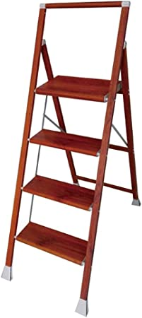 ZHAOYONGLI Taburete Plegable Escaleras de Mano Grano De Madera Escaleras Plegables para El Hogar Cuatro Pasos Espesar Escaleras De Aleación De Aluminio Escalera De Plataforma: Amazon.es: Hogar